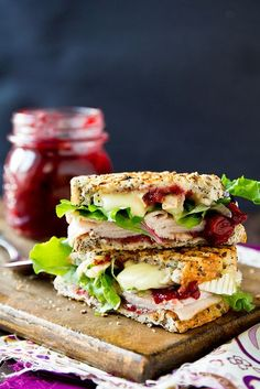 Turkey and Brie Panini with Cranberry Apricot Chutney.