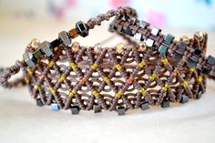 Macrame Gray Bracelet Set with Hematite and Czech crystal Beads by AztecaHandmade on Etsy