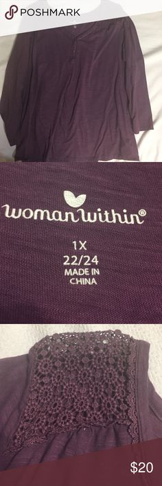 Woman Within Plus Size Top Woman Within plus size top. Has crochet shoulders. Never worn. Label had 1X (22-24) as size   Smoke free home. Woman Within Tops Tees - Long Sleeve
