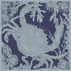 Crab papercut. 'Velvet Crab'. Print from an original handmade papercut.