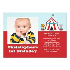 CUTE Circus Kids Birthday Party Invitation PHOTO