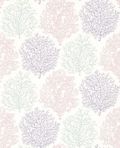 Coral Reef (213392) - Sanderson Wallpapers - A beautiful wallpaper featuring the motif of coral. Shown here in shades of purple, pink and grey on a white background. Other colourways are available. Please request a sample for a true colour match.  Paste-the-wall product.