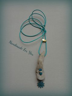long driftwood necklace, aqua leather necklace
