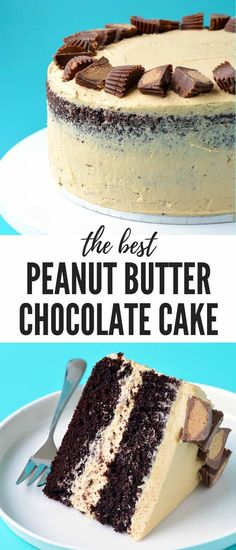A deliciously easy Peanut Butter Chocolate Layer Cake Two layers of soft chocolate cake covered in creamy peanut butter frosting and topped with Reese s peanut butter cups Recipe from Best Peanut Butter, Peanut Butter Desserts, Chocolate Desserts, Cake Chocolate, Chocolate Peanutbutter Cake, Reeses Cake, Reeces Peanut Butter Cake, Chocolate Birthday Cakes, Peanutbutter Cake Recipe
