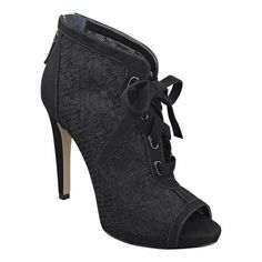 "Platform peep toe bootie with lacing detail.  Back zipper closure.  Measurements: heel 4 1/4"" and hidden platform 3/4"""