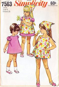 1960s Girls Toddlers Dress Pinafore Bloomers
