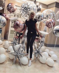 FOLLOW ME | Party balloon inspiration. Rose gold, silver and white. Inspo for grad party!