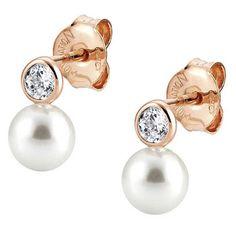 Nomination Bella Rose Gold Pearl Drop Earrings 142662/011 | The Jewel Hut
