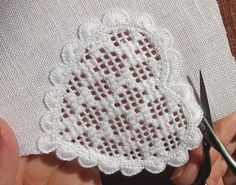 Das Herz wird ausgeschnitten | cut the heart - 3 Types Of Embroidery, Learn Embroidery, Embroidery Patterns, Hand Embroidery, Hardanger Embroidery, Cross Stitch Embroidery, Cross Stitches, Drawn Thread, Blanket Stitch