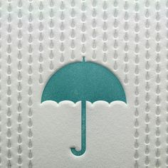 Rainy Day Letterpress Card in Blue and Silver Blue Umbrella, Beach Umbrella, No Rain, Parasol, Letterpress Printing, Paper Design, Graphic, Turquoise, Paper Goods