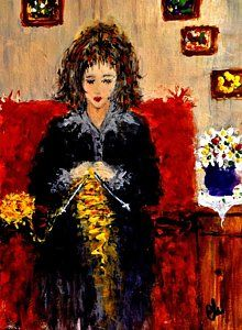 Knitting Painting - Sunday Afternoon.. by Cristina Mihailescu