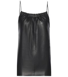 Victoria Beckham - Leather ruched cami top - Add a new texture to your ensembles with Victoria Beckham's super sleek leather cami top. Ruching at the neckline adds cool detail, while barely-there spaghetti straps show some skin. Take inspiration from the runway and tuck yours into a billowing maxi skirt. seen @ www.mytheresa.com