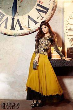 Eye-catchy Shilpa Shetty Georgette Black, Golden Anarkali Suit