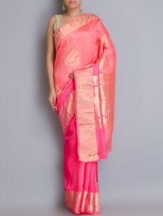 Orange-Pink Benarasi Handwoven Dupion Silk Saree with Zari