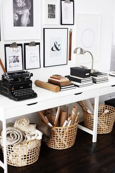 Workspage storage ideas. Baskets to put underneath desks. https://www.carmendarwin.com