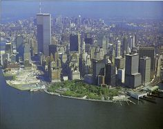 aerial view of lower manhattan looking north from the bay toward midtown september 1985