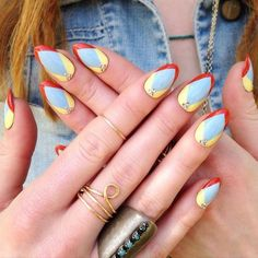 This reminds me of something medical, i dont know why. Primary colours, colour-blocked nail art mani
