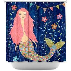 Shower Curtain Unique from DiaNoche Designs - Pink Mermaid