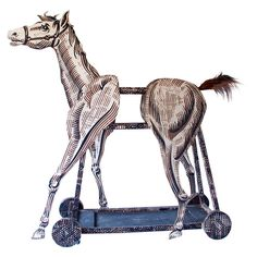 """Full Size Sculptural Depiction of a Horse. Used in an """"Theatrical"""" Production in Ohio during the 1950's. ( A Production of AIDA.......OKLAHOMA..... a mystery..???) The Horse is Constructed on a Wheeled Platform for Easy Movement and is Assembled of Five Pieces for Easy Transport."""