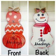 Pumpkin/snowman reversible signs