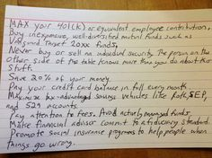 Harold Pollack's index card of the most important personal finance tips.