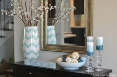 Honey We're Home: Our Summer Mantle (via Kirkland's) Chevron Vase LOVE the pale blue white combo with wood accent Home Decor Inspiration, Decor Ideas, Decorating Ideas, Mantle Decorating, Room Ideas, Summer Decorating, Craft Ideas, Summer Mantel, Do It Yourself Fashion