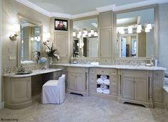 Bathed in Luxury - bathroom countertops - portland - Infinity Countertops, Inc. Master Bathroom Vanity, Modern Bathroom, Tv In Bathroom, Bathroom Grey, Glass Bathroom, Bathroom Furniture, L Shaped Bathroom, Best Kitchen Design, Jack And Jill Bathroom
