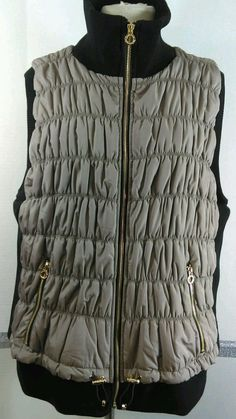 NEW Calvin Klein Performance Vest 3X Taupe Black Trim Gold hardware zipper NWT #CalvinKlein