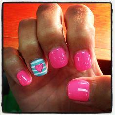 Heart and stripes nail art