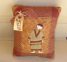 Fall pieced Indian pillow Primitive fall pillow by MyOldeThings, $7.95