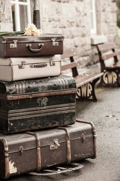Vintage UK engagement | charlene morton photography....travel, vintage [suitcases], Europe, photography, & park benches