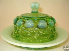 1930's Depression green vaseline opalescent glass butter dish