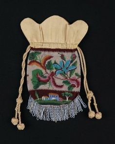 Knitted and beaded drawstring bag American ca. first half 19th Century