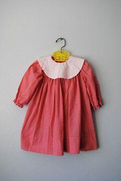 vintage girl red gingham dress