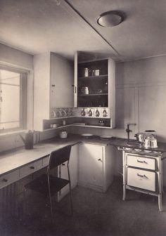 Early modernist kitchen designed by architect Grete Schütte-Lihotzky for Ernst May's New Frankfurt building, 1926
