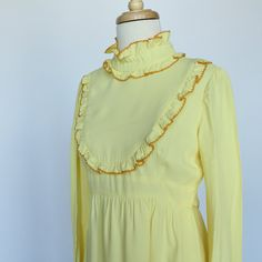 60's/70's  Empire Waist Maxi Dress in Yellow by CenterStageVintage, $32.00