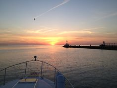 My view from the Captain's seat. Saint Joseph, Michigan off of Silver Beach