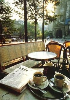 Coffee, magazine and outdoors, just perfect