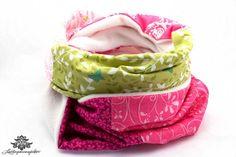 Winter Loop Schal pink grün weiß von #Lieblingsmanufaktur