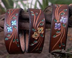 LoveTheSeventies: Vintage Tooled Leather Bracelets from the 1970's
