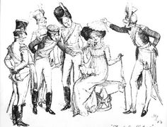 """Hugh Thomson, """"Tenderly Flirting""""-- an illustration from an 1894 edition of 'Pride and Prejudice'        """"She saw all the glories of the camp; its tents stretched forth in beauteous uniformity of lines, crowded with the young and the gay, and dazzling with scarlet; and to complete the view, she saw herself seated beneath a tent, tenderly flirting with at least six officers at once."""""""