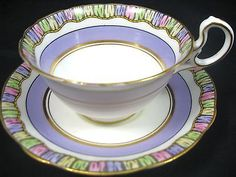 AYNSLEY LAVENDER ART DECO RAINBOW BAND TEA CUP AND SAUCER