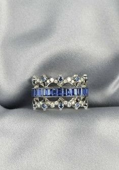 Trendy Diamond Rings : White Gold, Sapphire, and Diamond Band, Fred Leighton, channel-set with eme. - Buy Me Diamond Sterling Silver Jewelry, Antique Jewelry, Vintage Jewelry, Silver Rings, Silver Bracelets, Vintage Silver, Gold Ring, Custom Jewelry, Handmade Jewelry