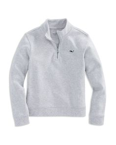 A great layering piece, this quarter-zip pullover from Vineyard Vines is crafted from soft cotton jersey for supreme comfort.   Pima cotton   Machine wash   Imported   Fits true to size   Stand collar