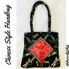 "Chinese Style Handbag In excellent condition. No flaws or tears. Designed with dragonfly's. So cute. Measures 9 1/2"" x 9 1/2"". Strap drop is approx 7"". Bags Mini Bags"