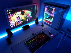 Rainbow desk setup