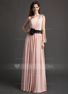 Evening Dresses - $146.99 - A-Line/Princess One-Shoulder Floor-Length Chiffon Charmeuse Evening Dress With Ruffle Sash Flower(s) Sequins (008015955) http://jjshouse.com/A-Line-Princess-One-Shoulder-Floor-Length-Chiffon-Charmeuse-Evening-Dress-With-Ruffle-Sash-Flower-S-Sequins-008015955-g15955?ves=vnlx6&ver=n1ug2t
