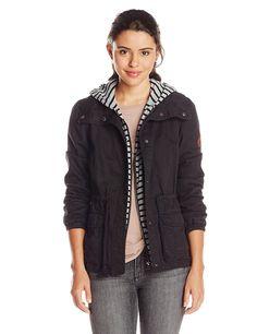 Amazon.com: Roxy Juniors Wood Ridge Hooded Military Fashion Jacket, True Black, Large: Clothing