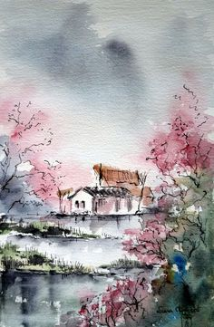 Japanese landscape - Laura Clement Love the subtle colors and the combination of colors