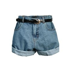 Retro Oversized High Waist Denim Shorts with Waistband ❤ liked on Polyvore featuring shorts, bottoms, pants, short, high waisted jean shorts, oversized denim shorts, high-rise shorts, denim short shorts and high rise shorts